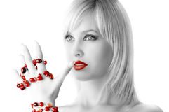 Blond with necklace Stock Photos