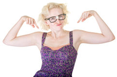 Blond Nerd Dancing Royalty Free Stock Image