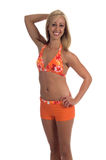 Blond In Orange Bikini Royalty Free Stock Photography