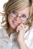 Blond Phone Businesswoman. Wearing glasses royalty free stock photos