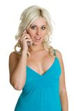 Blond Phone Woman Royalty Free Stock Images