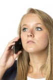 Blond phoning woman Stock Images