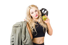 Blond pin up woman holding gasmask. Nuclear pinups Stock Images
