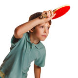 Blond ping pong man boy playing table tennis Royalty Free Stock Photos