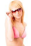 Blond in pink bikini Royalty Free Stock Photography
