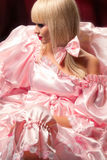 Blond in pink dress Royalty Free Stock Photos