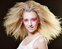 Blond with pink make up Stock Photo