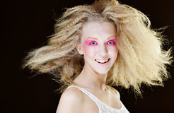 Blond with pink make up Stock Image