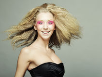 Blond with pink make up Stock Photos