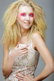Blond with pink make up Royalty Free Stock Image