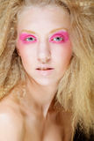 Blond with pink make up Royalty Free Stock Photo