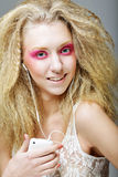 Blond with pink make up Royalty Free Stock Photography