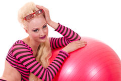 Blond pinup model with beach ball Royalty Free Stock Photo