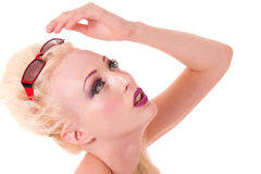 Blond pinup model looking up Stock Image