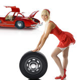 Blond pinup in red Royalty Free Stock Photo