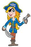 Blond pirate woman. Vector illustration Royalty Free Stock Photo