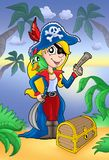 Blond pirate women with treasure chest. Blond pirate woman with treasure chest - color illustration Stock Photo