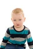 Blond pojke på vit Royaltyfri Fotografi