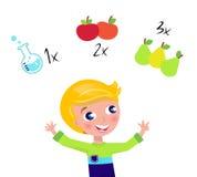 blond pojke som räknar gullig lärande math stock illustrationer