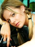 Blond portrait. Head shot of a Young blond teen in ponytails Royalty Free Stock Images