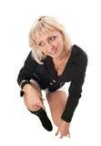 blond posera studio royaltyfria bilder