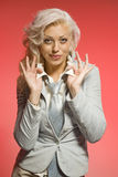 blond pozytywna czerwona kobieta fotografia stock