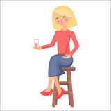 Blond Pregnant Woman with Pink Cheeks Holds Cup. With milk, smile and sit on chair. Cartoon woman icon happy motherhood mother Day collection. Love and care Royalty Free Stock Images