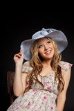 Blond pregnant woman portrait in straw hat Royalty Free Stock Photos