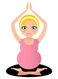 Blond Pregnant yoga woman Royalty Free Stock Photography