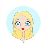 Blond pretty girl. Image of young pretty girl. Vector illustration for a web site on the topic of youth, school, university, healthy lifestyle, sport, fitness Stock Images