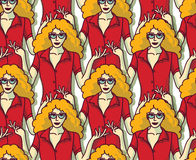 Blond pretty woman in red crowd color seamless pattern. Stock Images