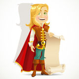 Blond prince with a scroll of parchment for banner. Cute blond prince with a scroll of parchment for your banner Royalty Free Stock Photography