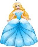 Blond Princess In Blue Dress. Vector illustration of a beautiful blond princess in blue dress stock illustration