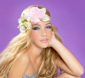 Blond princess fashion girl with spring flowers Royalty Free Stock Photos