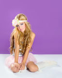 Blond princess fashion girl with spring flowers Stock Images