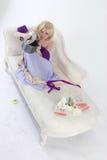 Blond princess with pan Stock Photo