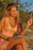 blond ręce lustra kobieta Zdjęcie Royalty Free