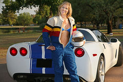 Blond Racer Girl Stock Photography
