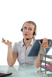 Blond receptionist with clip-board Stock Photo