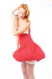 Blond in red dress Royalty Free Stock Photo