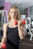 The blond with red dumbbell Stock Image