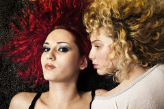 Blond and red haired girls Stock Image