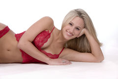Blond and red lingerie Royalty Free Stock Photography