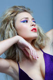 Blond with red lips. Royalty Free Stock Photo