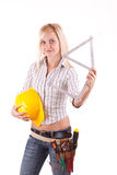 blond reparationskvinna Royaltyfri Bild