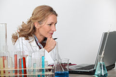 Blond researcher in lab Royalty Free Stock Photo