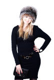 Blond Russian woman in fur hat Royalty Free Stock Photo