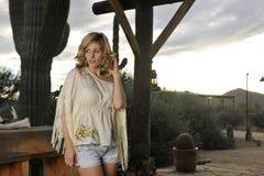 Blond on Rustic Column Stock Photos