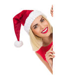 Blond Santa Girl behind a placard Stock Image
