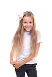 Blond schoolgirl with long hair Royalty Free Stock Images